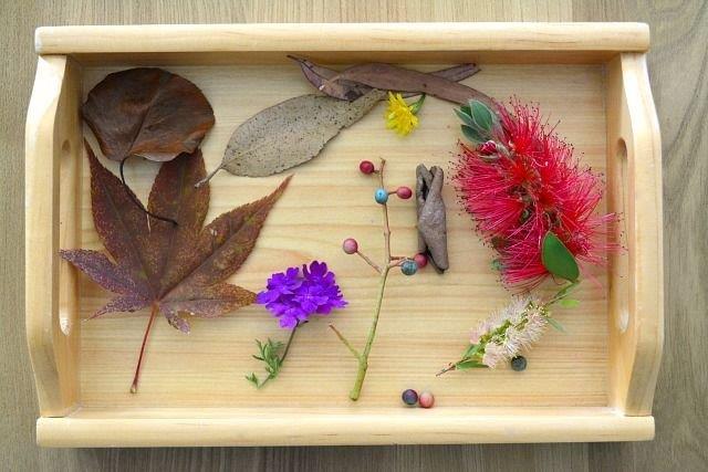 Plateau en bois avec des fleurs séchées